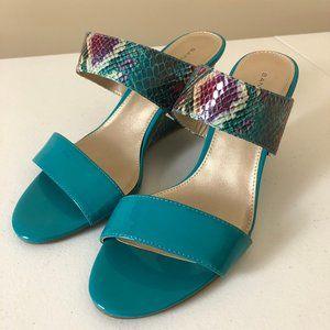 Bandolino Teal & Python Wedge Sandals